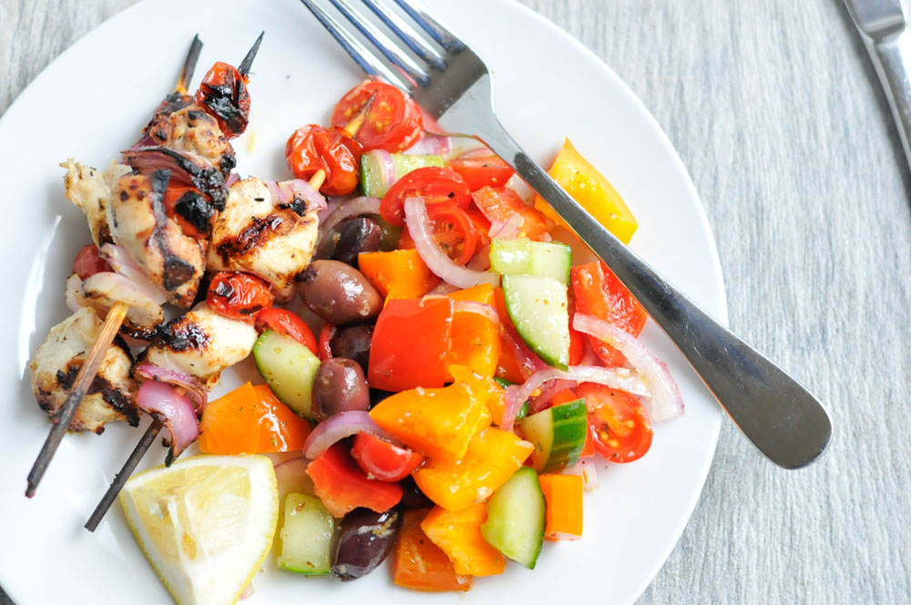 Lemony Chicken Skewers with Chopped Greek Salad realfoodwholelife.com