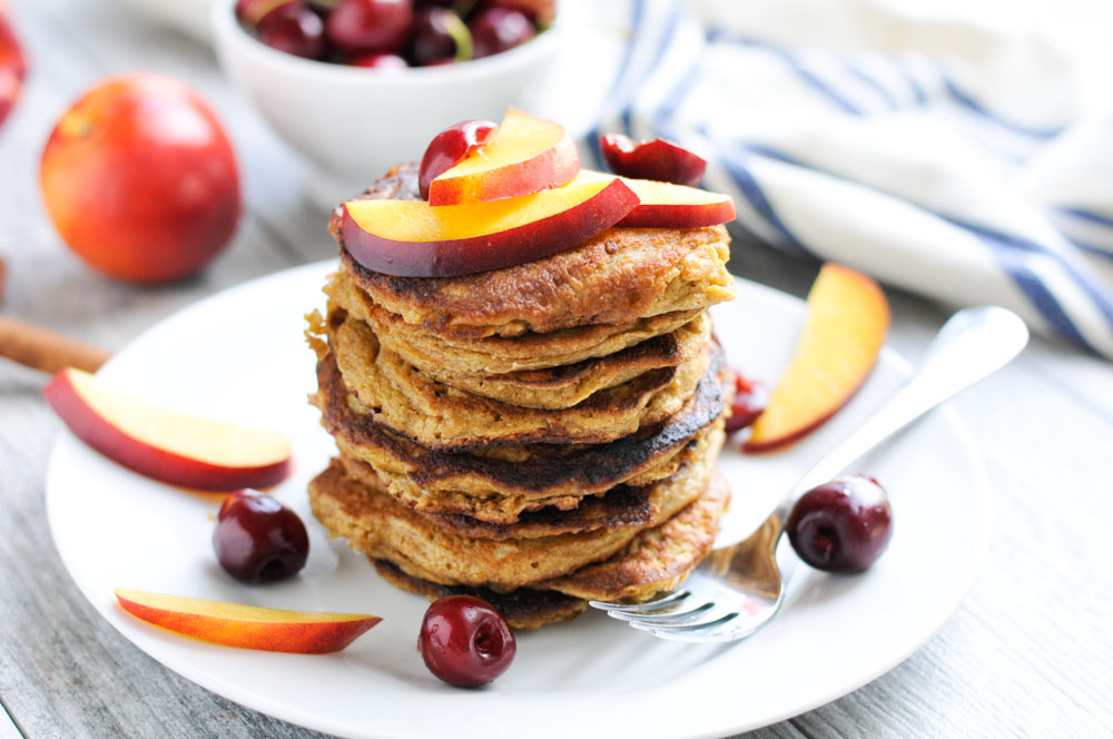 Oatmeal Pancakes with Nectarines and Cherries realfoodwholelife.com