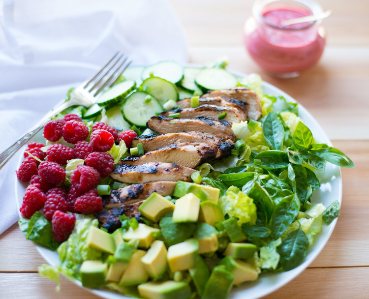 Grilled Chicken Power Salad with Homemade Raspberry Dressing — Real ...
