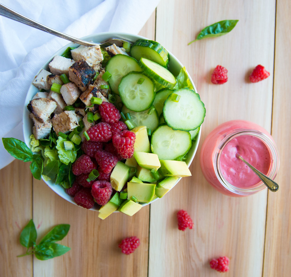 Grilled Chicken Power Salad with Homemade Raspberry Dressing is a vibrant, healthy recipe perfect for dinner or lunch. Naturally gluten-free and dairy-free.