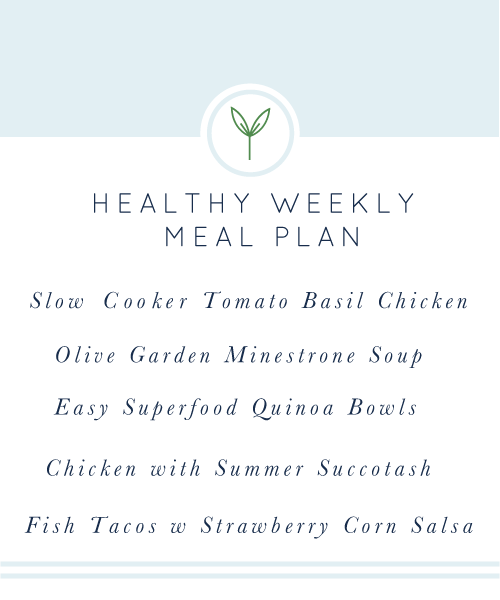 Healthy Weekly Meal Plan. A week's worth of healthy, easy, weeknight meals. Gluten-free & dairy-free recipes with slow cooker, vegan, vegetarian, and paleo options.