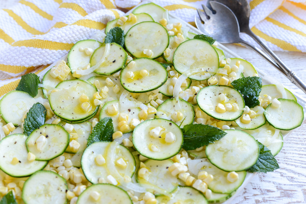 Zucchini, Corn and Sweet Onion Salad with Lemon Vinaigrette. A light, summery salad bursting with garden veggies. Naturally gluten-free and dairy-free.