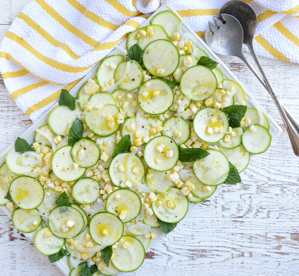 Zucchini, Corn, and Sweet Onion Salad. Healthy, gluten-free and dairy-free!