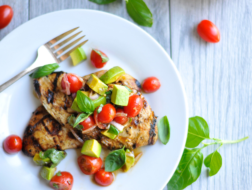 Balsamic Grilled Chicken with Avocado and Cherry Tomato Salad recipe. A healthy, delicious weeknight meal!