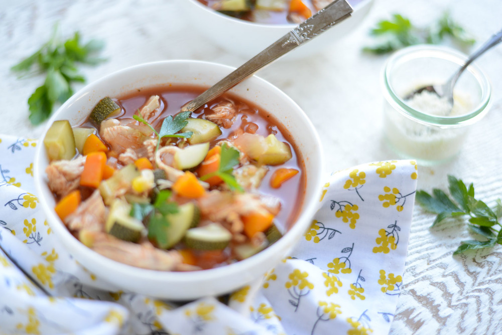 Healthy Slow Cooker Chicken, Veggie and Quinoa Stew. A quick and easy weeknight recipe. Gluten free and dairy free.