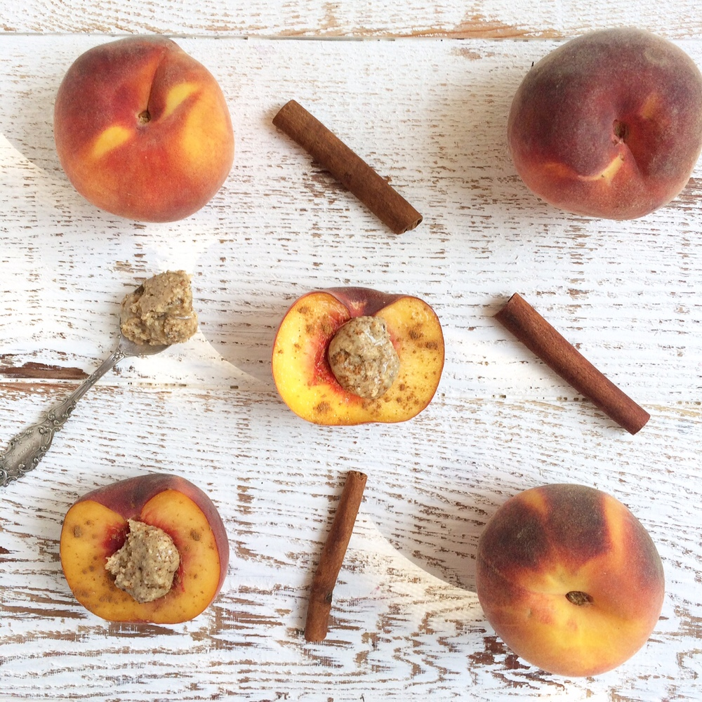 Healthy Afternoon Snack. Peaches with almond butter and cinnamon. Naturally gluten-free and dairy-free.