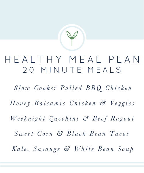 Healthy Weekly Meal Plan from Real Food Whole Life. 20 minute meals, all gluten-free and dairy-free.