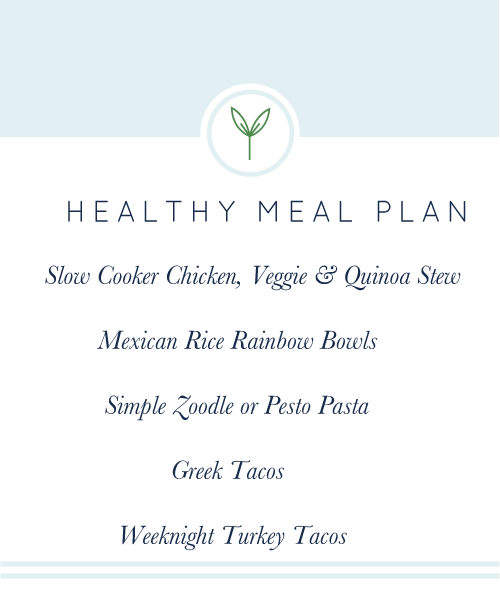 Weekly Healthy Meal Plan. A week's worth of healthy, easy, weeknight meals; all gluten-free and dairy-free.