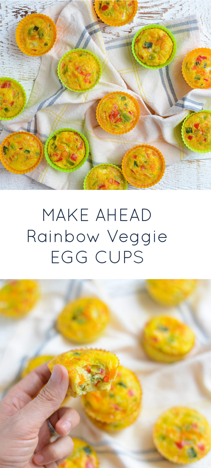 Make Ahead Rainbow Veggie Egg Cups. Naturally gluten-free, dairy-free and kid-friendly!