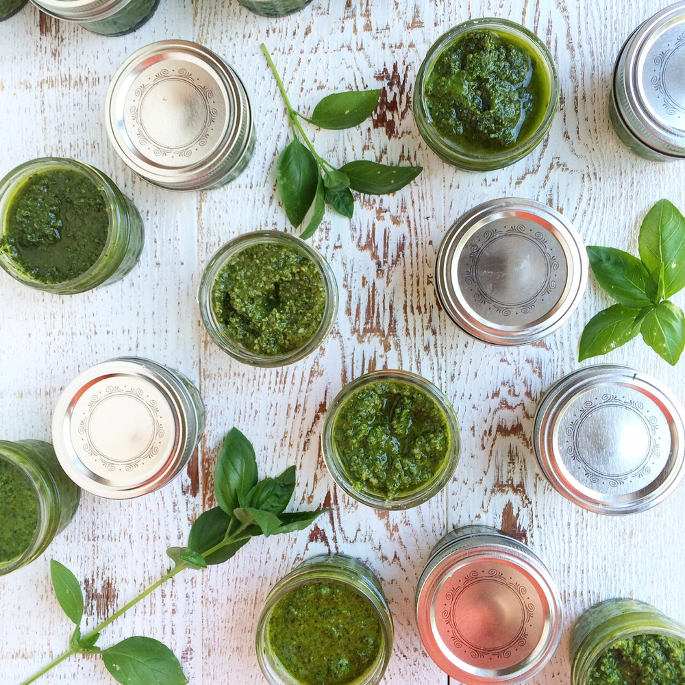 Nut-Free, Dairy-Free Pesto for the Freezer.