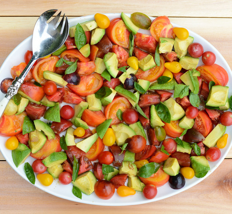 Healthy Recipes for Labor Day, Gluten-Free, Dairy-Free: Tomato, Avocado and Basil Salad
