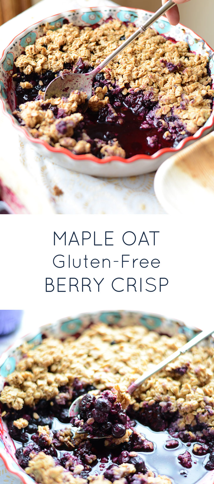 Healthy Maple Oat Mixed Berry Crisp. Naturally gluten-free and dairy-free and so yummy!