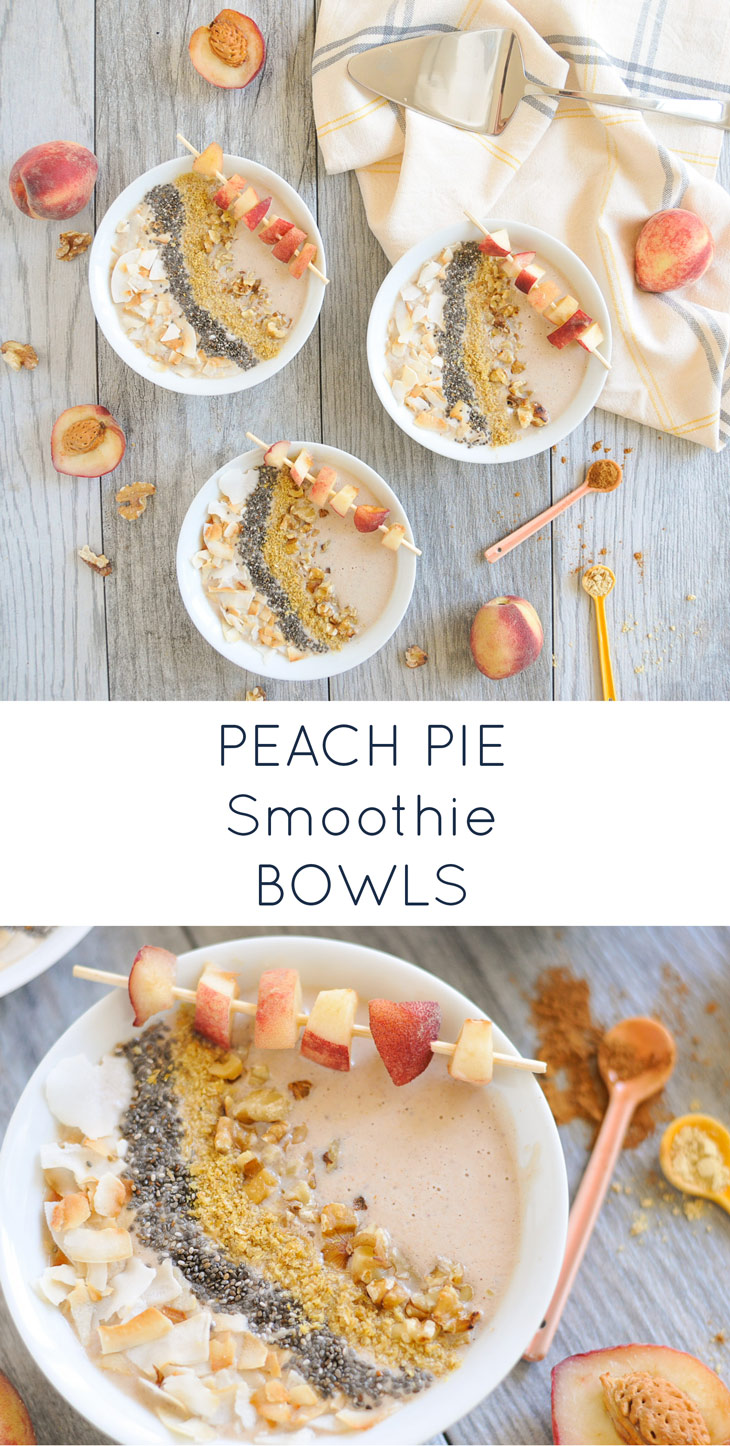 Peaches and Cream Smoothie Bowls. An easy, healthy morning treat, the recipe for these smoothie bowls is naturally gluten-free and dairy-free.