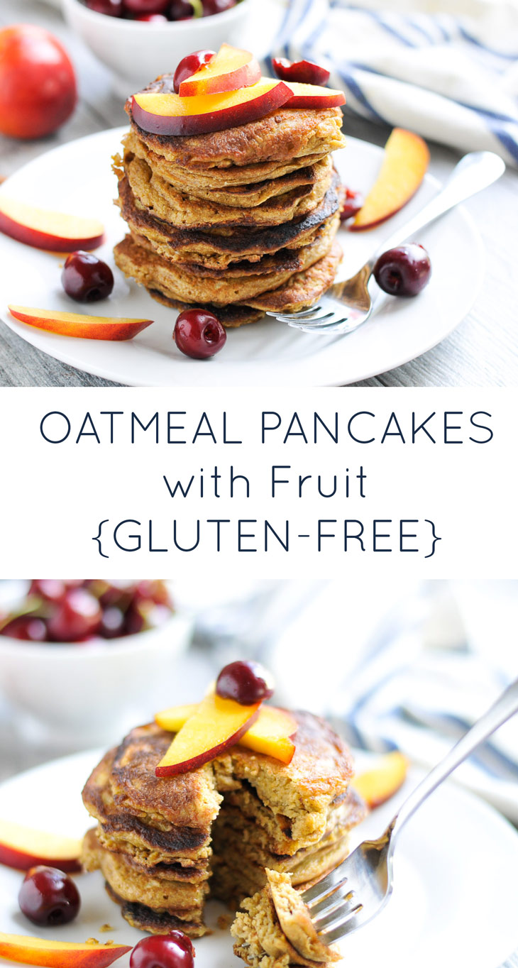 Oatmeal Pancakes with Nectarines and Cherries #glutenfree #dairyfree