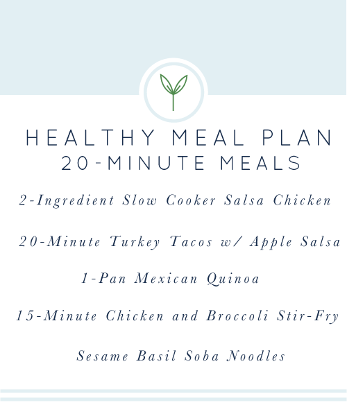 Healthy Weekly Meal Plan: A week's worth of healthy, easy, weeknight meals; all gluten-free & dairy-free.