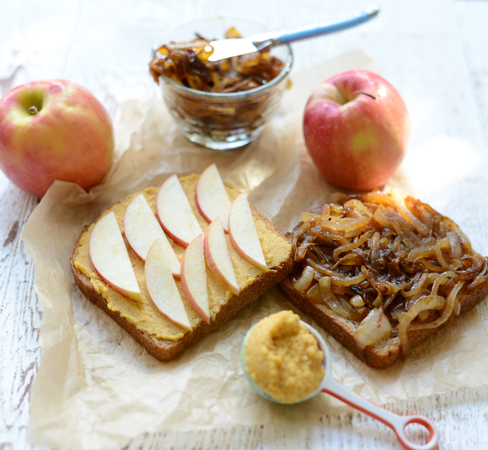 Hummus, Apple, and Caramelized Sandwiches