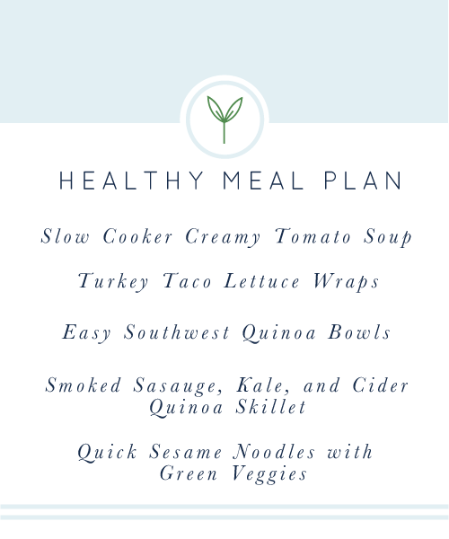 Healthy Meal Plan: A week's worth of healthy, easy, weeknight meals; all gluten-free and dairy-free.