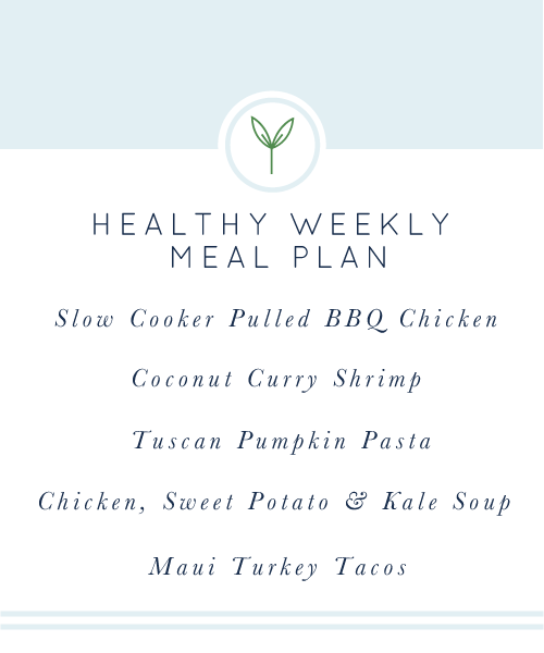 Healthy Weekly Meal Plan. A week's worth of healthy, easy, weeknight meals. Gluten-free and dairy-free. realfoodwholelife.com