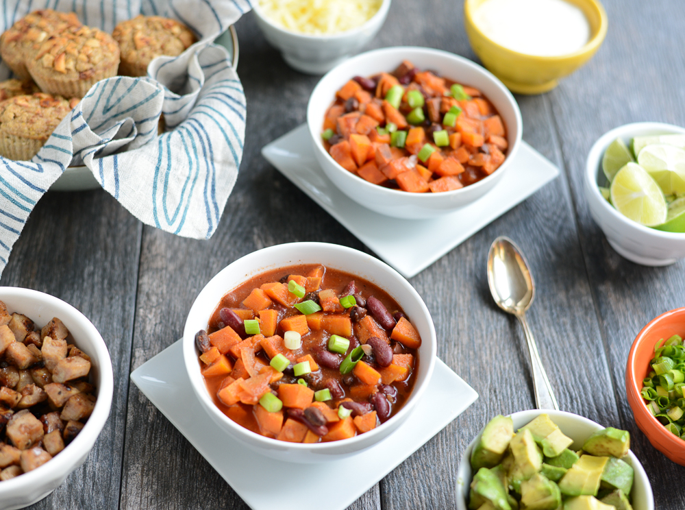 Slow Cooker Sweet Potato Apple Cider Chili is a hearty sweet and savory vegetarian chili that combines a few simple ingredients into a quick, easy, and filling meal. Naturally gluten-free and dairy-free. From realfoodwholelife.com.