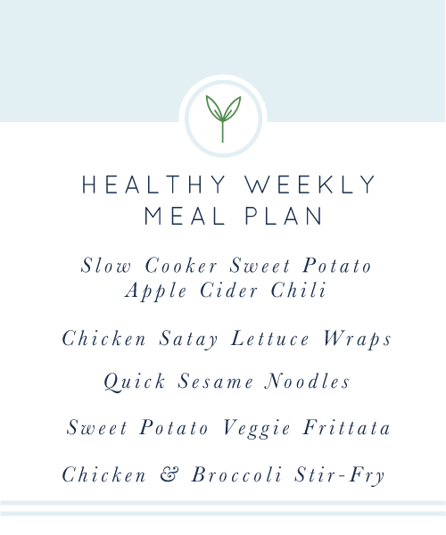 Weekly Healthy Meal Plan. A week's worth of healthy, easy, weeknight meals. All gluten-free and dairy-free.