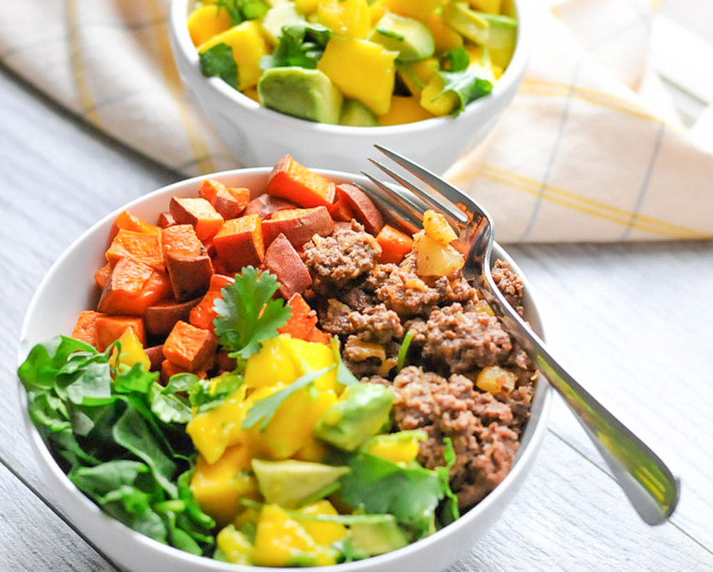 Sweet Potato Beef Bowls part of this week's Healthy Weekly Meal Plan. Five real food dinners, all gluten-free and dairy-free.