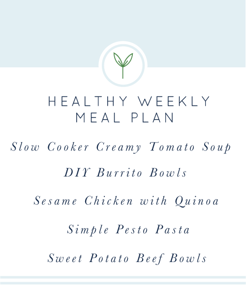 Your Healthy Weekly Meal Plan is here for you! A week's worth of healthy, easy, weeknight meals. Five real food dinners, all gluten-free and dairy-free.