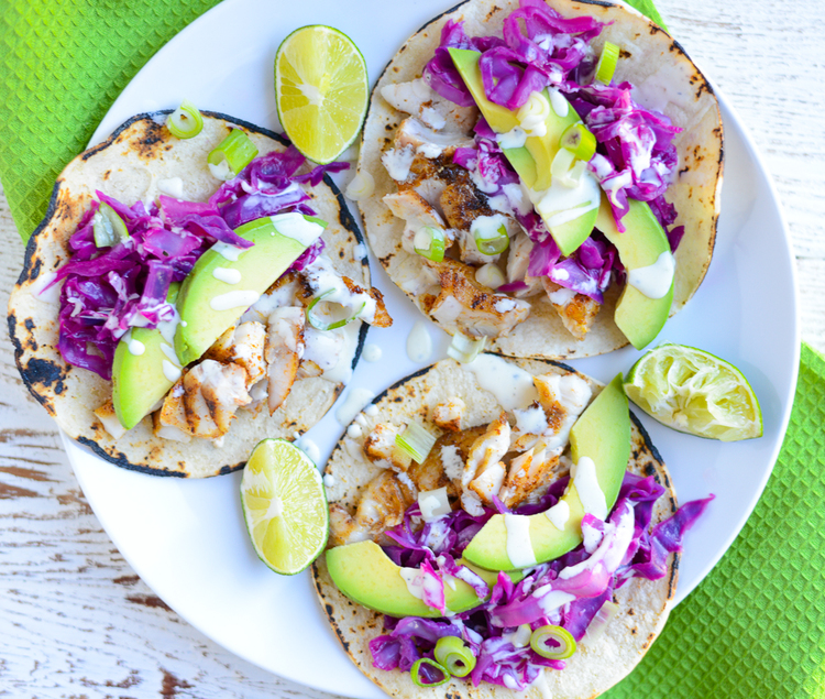 Easy Fish Tacos with Honey Lime Cabbage Salsa is a quick, easy, healthy, clean weeknight recipe.