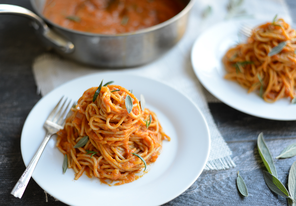 Tuscan Pumpkin Pasta, perfect for Thanksgiving Day (or the night before)!
