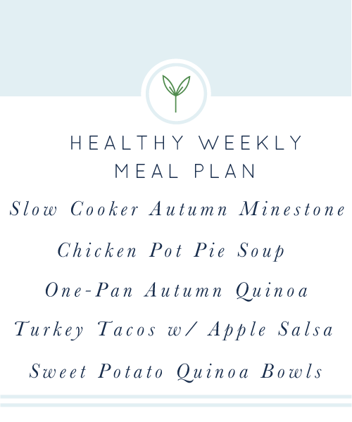 Healthy Weekly Meal Plan. A week's worth of healthy, easy weeknight meals. Naturally gluten-free and dairy-free.