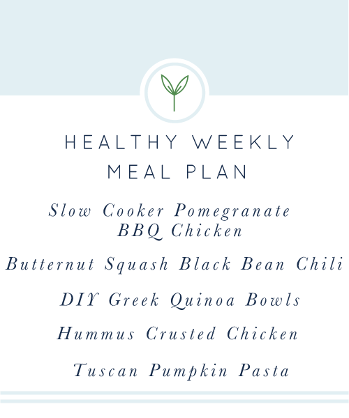 Your Healthy Weekly Meal Plan is here for you! A week's worth of healthy, easy, weeknight meals. Naturally gluten- and dairy-free.