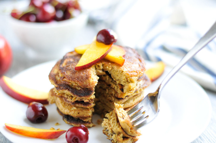 Oatmeal Pancakes with Cherries and Nectarines