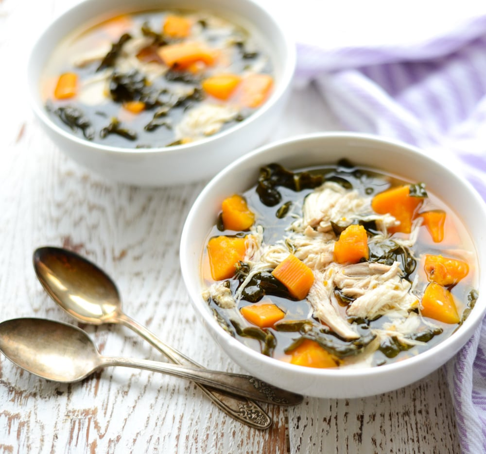 Slow cooker chicken kale and sweet potato stew real food whole this hearty slow cooker chicken kale and sweet potato stew is packed with protein forumfinder Images