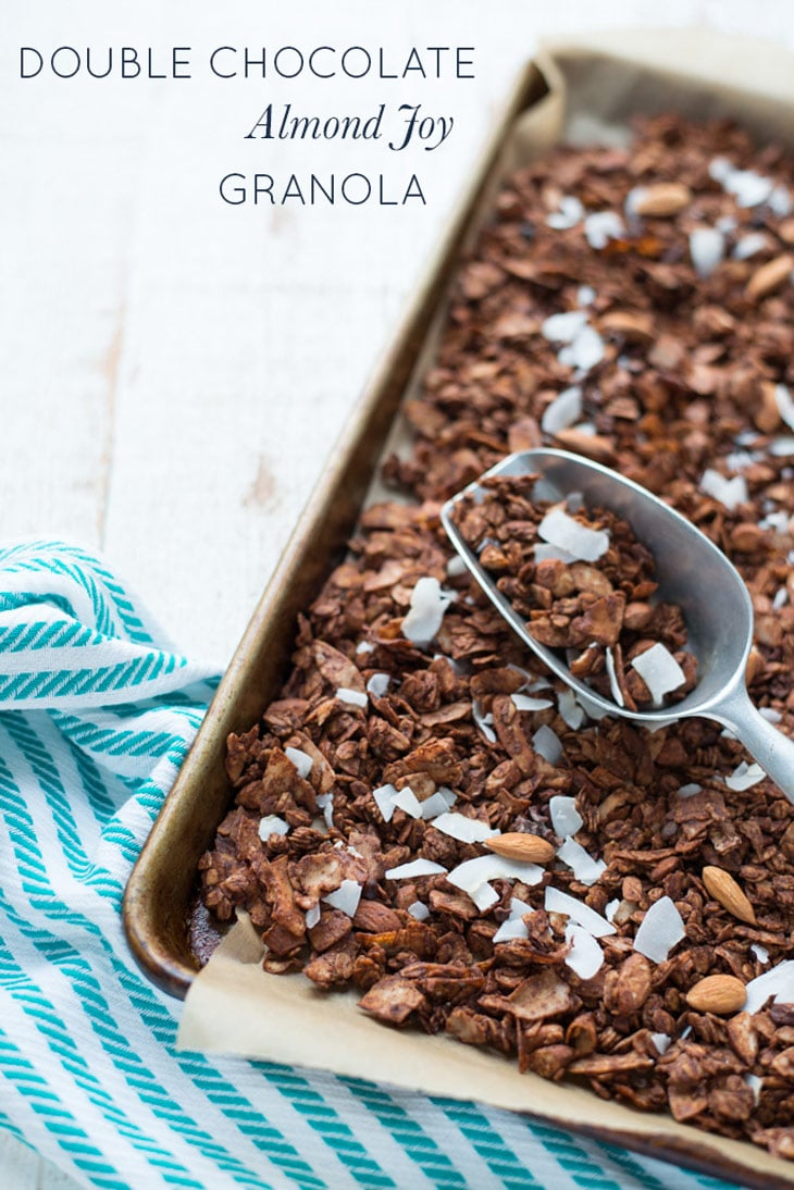 Crunchy, chocolatey and made with real food ingredients, Double Chocolate Almond Joy Granola is perfect for breakfast, as a snack, or as a special treat!