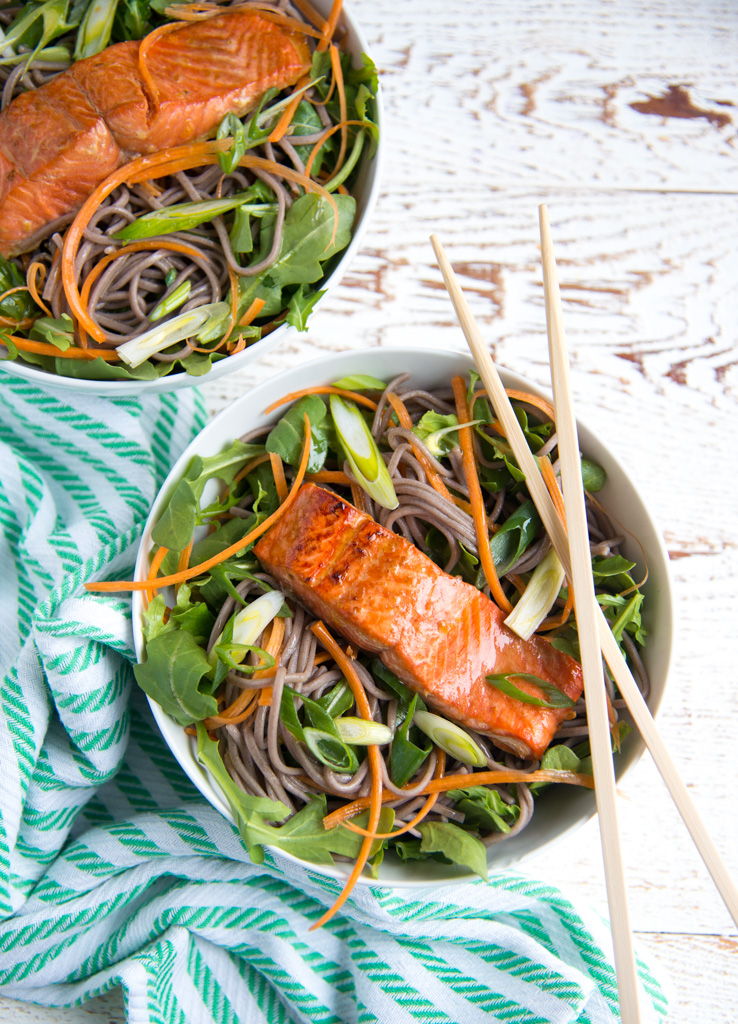A quick, simple marinade combines with juicy roasted salmon and luscious soba noodles for this amazingly flavorful bowl of goodness. Naturally gluten-free and dairy-free.