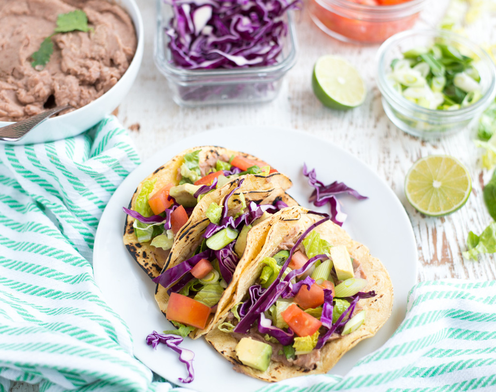 Slow Cooker Refried Bean Tacos