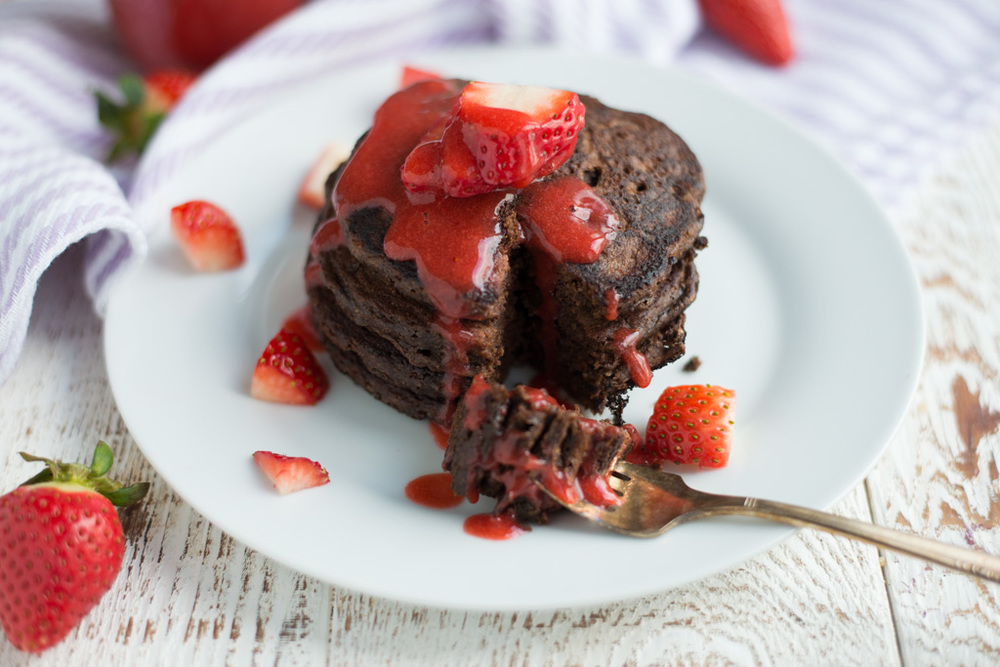 Chocolate Pancakes with Strawberry Syrup