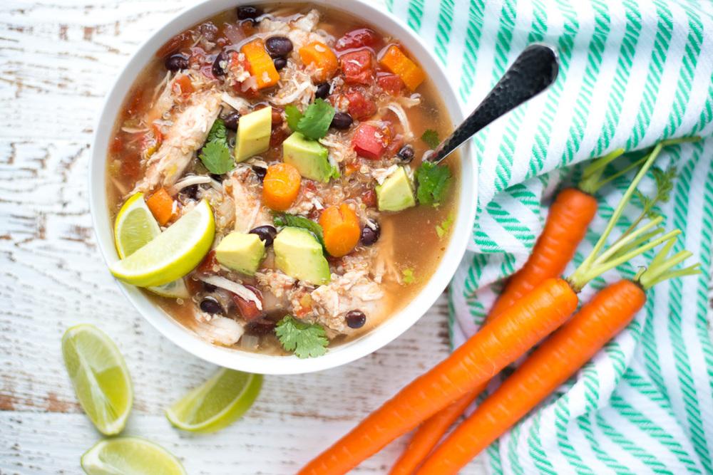 Slow Cooker Chicken, Black Bean, and Quinoa Stew