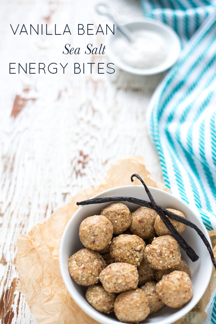 6 simple ingredients combine in Vanilla Bean Sea Salt Energy Bites for a dreamy, naturally-sweetened dessert or snack you can throw together anytime!
