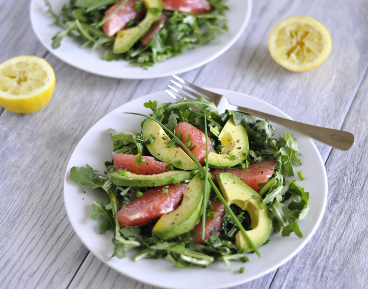 Grapefruit Avocado Salad with Lemon Chive Dressing
