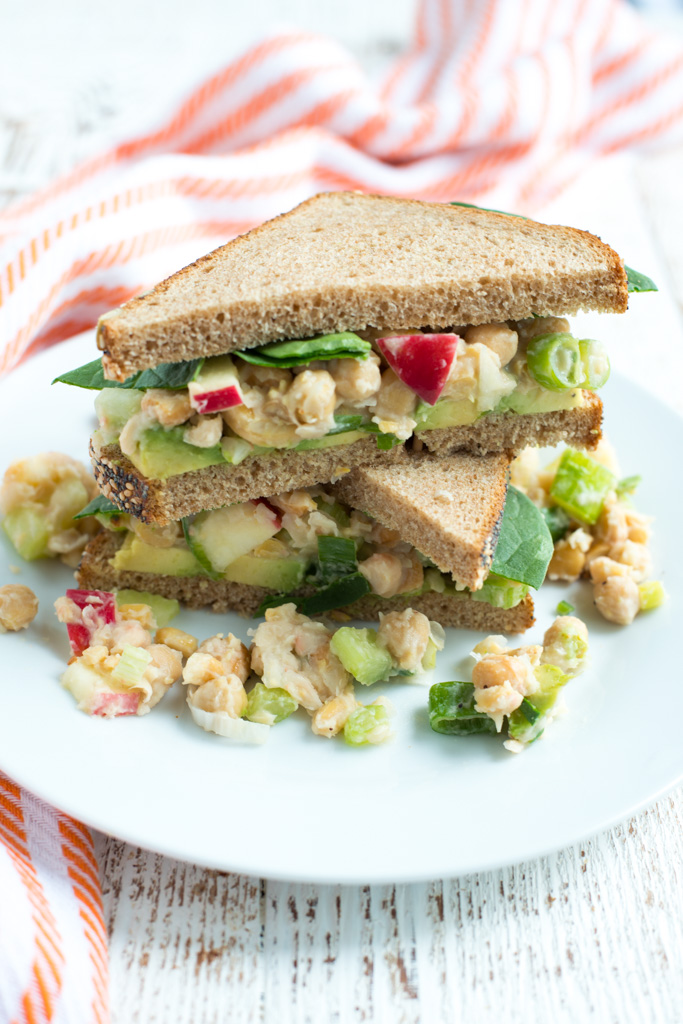 Creamy and crunchy (without dairy or mayo), Crunchy Smashed Chickpea Salad is packed with plant-based protein and fiber. It's s snap to make, tastes delicious, and packs beautifully for lunches or potlucks.