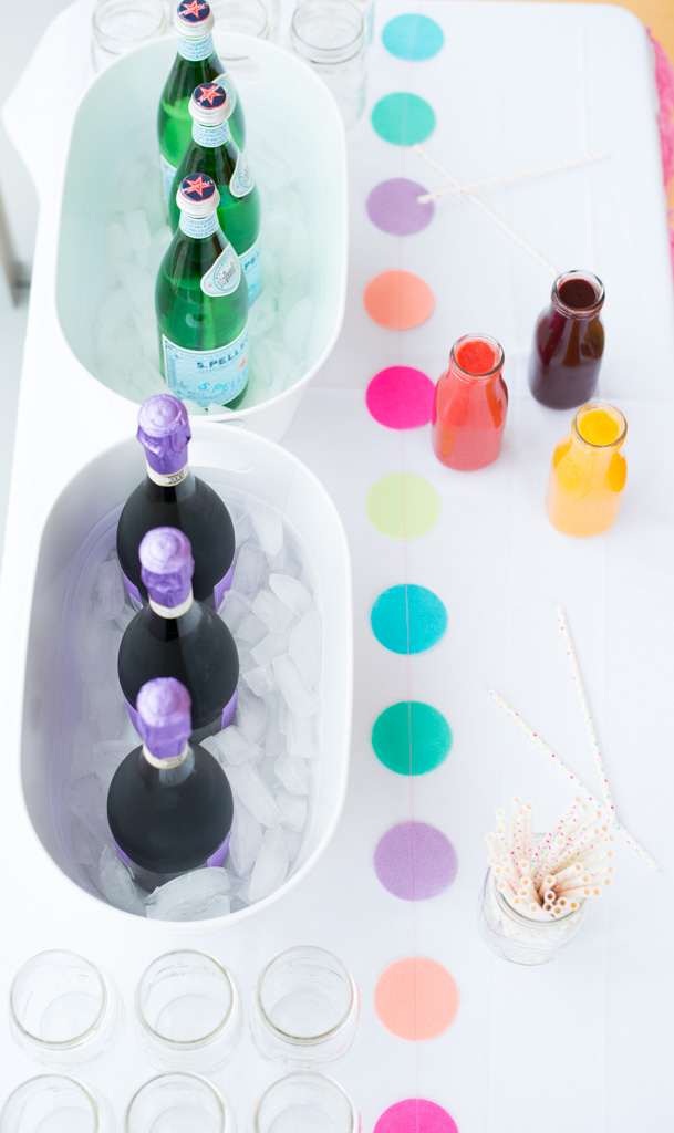 DIY Prosecco and Sparkling Water Bar. The perfect idea for a baby shower party.