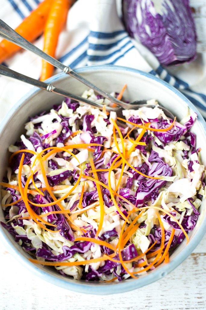 So simple and ultra versatile, 5-Ingredient Everyday Creamy Cabbage Slaw comes together in minutes and is the perfect quick side dish recipe for just about any meal.