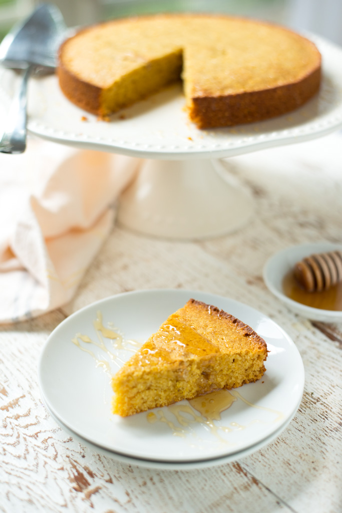 Tender, lightly sweet, and scented with warm vanilla and honey, One-Bowl Honey Vanilla Cornmeal Cake comes together in just one bowl and is perfect as a side dish or simple dessert.