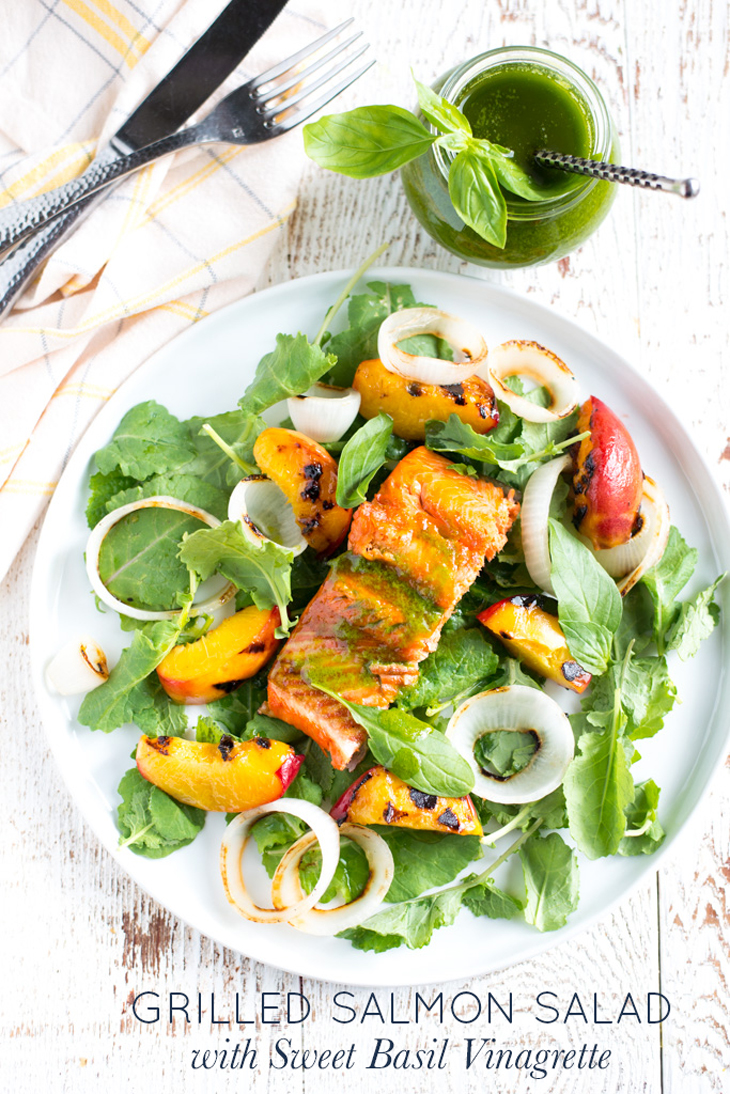 Protein packed and full of flavor, Grilled Salmon Salad with Sweet Basil Vinaigrette is a simple weeknight dinner that's special enough for entertaining.