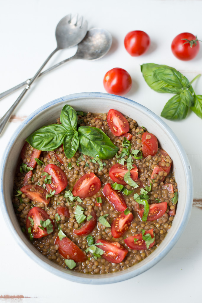 Simple to make with pantry staples and a few fresh ingredients, Lunch Box Tomato Basil Lentil Salad packs beautifully for lunch on-the-go, and also makes the perfect side or potluck dish.