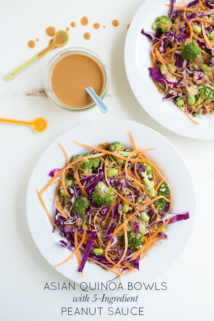 Asian Quinoa Bowls with 5-Ingredient Peanut Sauce are packed with vibrant veggies and topped with the easiest peanut sauce ever. A new weeknight classic that just got a little simpler.