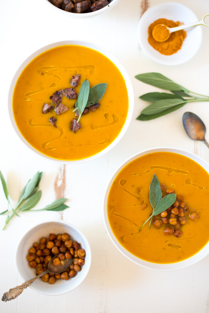 Slow Cooker Sweet Potato, Apple & Turmeric Soup is a simple chop and drop recipe that yields creamy, nourishing results. It's a hit with the entire family, plus is gluten-free, dairy-free, vegan, paleo and Whole30 friendly!