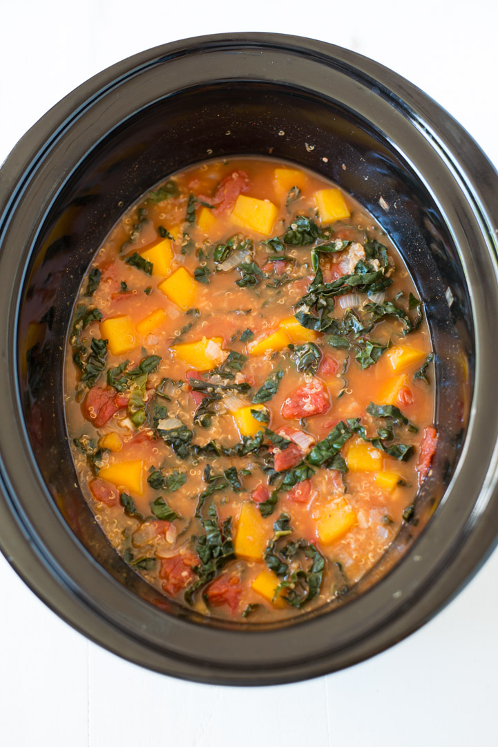 A simple and delicious plant-based meal, Slow Cooker Butternut Squash, Kale & Quinoa Stew is hearty, nourishing and packed with all the good stuff. This recipe is gluten-free, dairy-free, and vegan!#realfoodwholelife #realfoodwholeliferecipe #recipe #mealprep #glutenfree #dairyfree #healthy #healthyrecipe #easyrecipe #quickrecipe #lunch #mayofree #nutfree #eggfree