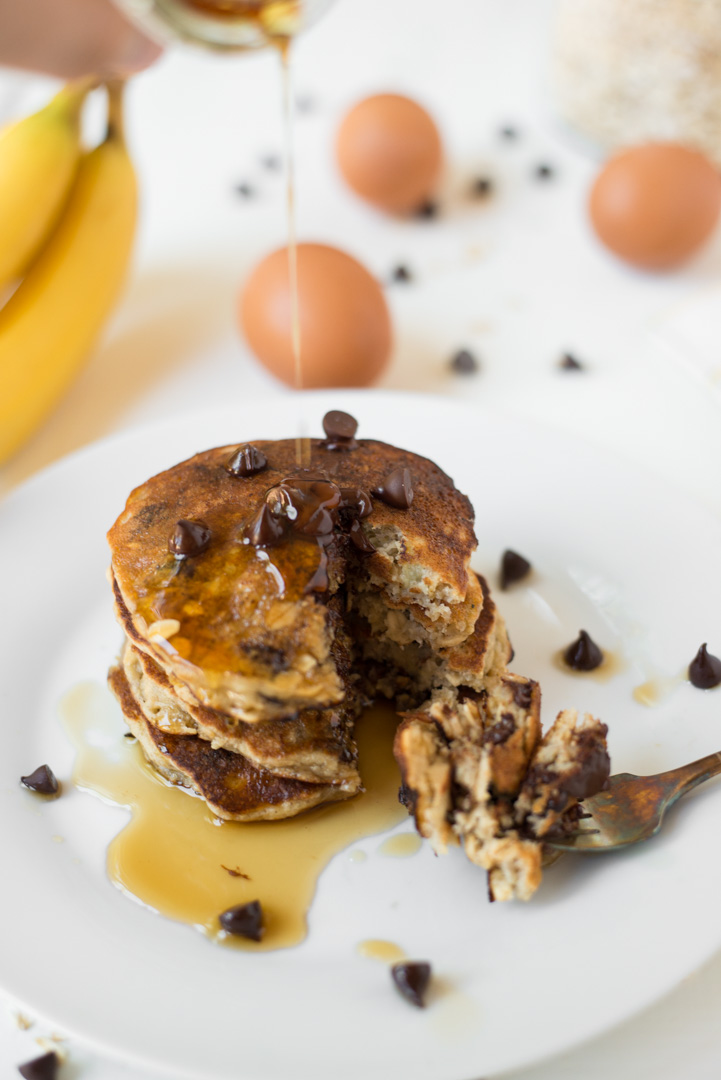 Cozy, comforting, and naturally sweetened, One-Bowl Chocolate Chip Banana Pancakes are simple to whip up, and are full of wholesome, gluten-free, dairy-free goodness.