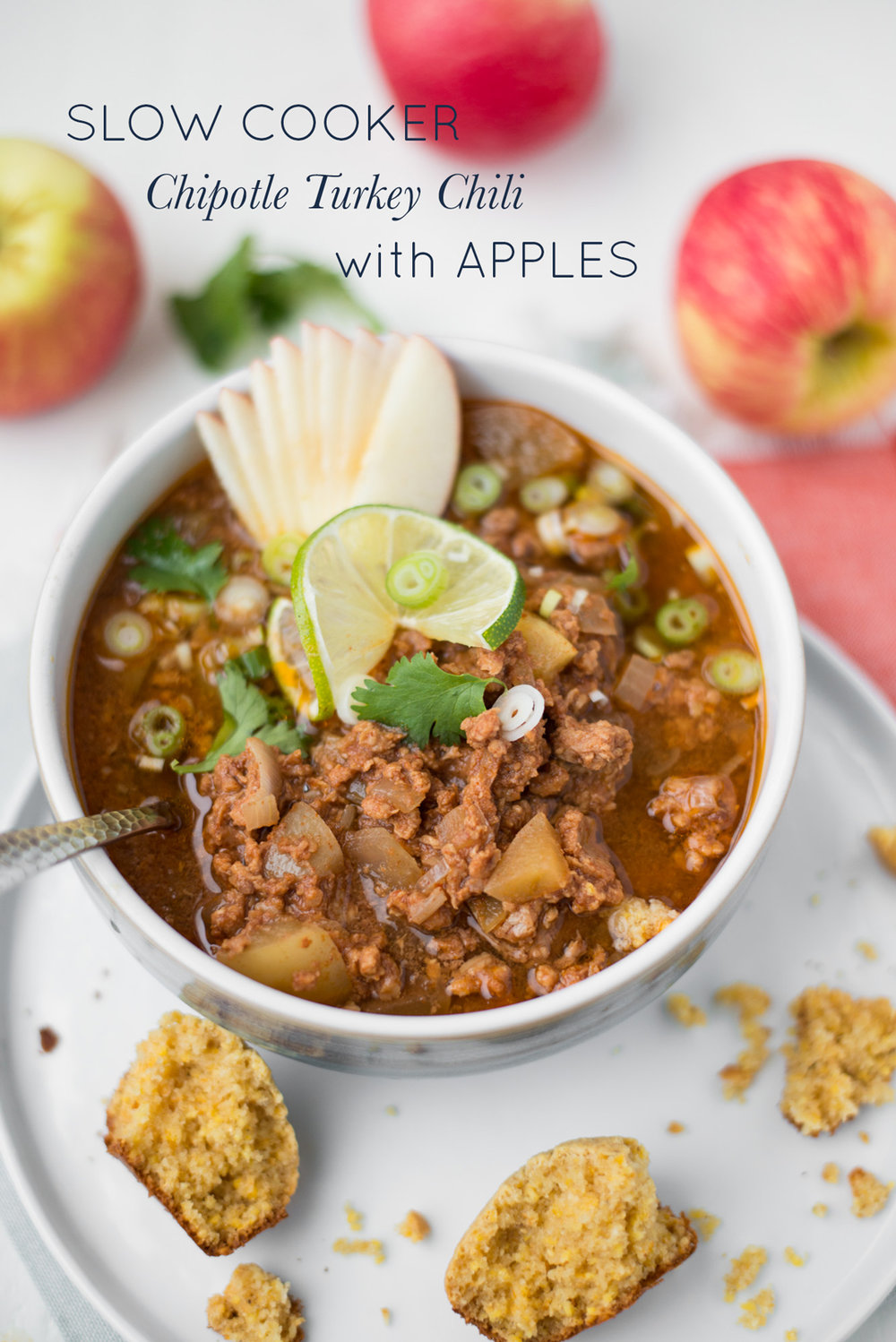 Warm, hearty and super flavorful, Slow Cooker Chipotle Turkey Chili with Apples is simple to make and full of all the good stuff!